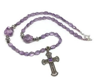 Amethyst Cross Necklace with White Pyrite and Crystal, Chunky Amethyst Necklace, Marcasite and Amethyst Cross, Amethyst Bead Necklace