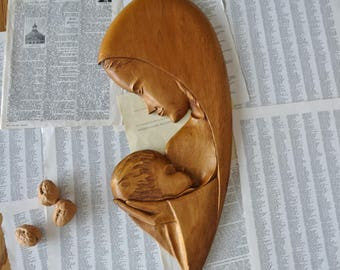 Vintage wood sculpture Madone and Jesus Wall art plaque by A. Nadeau Canada Religious art