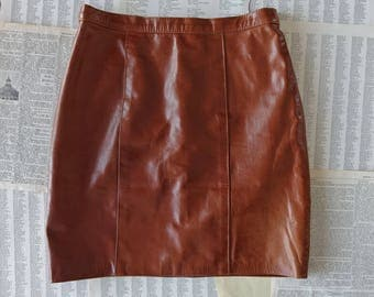 Vintage brown leather skirt Women small size High waisted