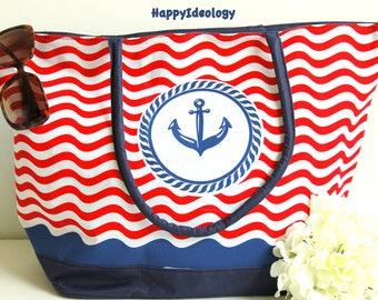 Nautical Large Beach Bag. Anchor Print Beach Bag/Tote. Large Tote Bag.Red, Blue & White Beach Bag/Tote.Anchor Purse