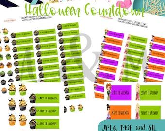 2.00 Tuesday Halloween countdown   - Printable Planner stickers, Halloween Planner stickers, Erin Condren, Happy Planner