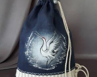 Hand painted linen cosmetic bag ( dancing crane) linen pouch, toiletry case