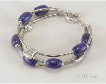 Bracelet lapis lazuli, deep blue stone on 3 strands - 123Pierres jewelry
