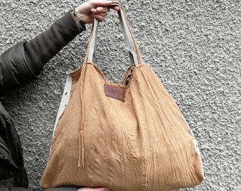 BOHO bag in BEIGE. Soft bag, Large bag, Tote Bag / Handbag / Women's Handbag /