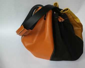 Leather Bag, multicoloured Leather Tote Bag, Leather Shoulder Bag, Leather Handbag, Leather Tote, Woman Leather Bag, Leather Bags Women