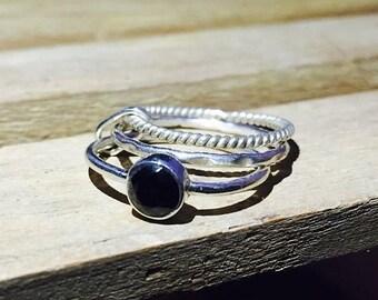 ON SALE Natural Black Onyx Ring - 925 Sterling Silver Gemstone Ring - Wedding Ring - Handmade Stacking Ring