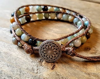 Dunya: Double-wrap bracelet with amazonite beads & brown cord