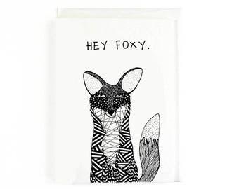 Hey Foxy Valentines Card, Animal Lover Valentines Card, Hey Foxy, Funny Card, Humorous Valentines, Patterned Fox, Fox Valentines Card