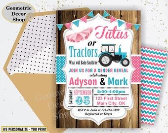 gender reveal invitation tractor or tutu wood country rustic gender neutral baby shower pink blue boy girl BSGR1