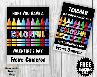 Colorful / Crayons / Crayon / Pink / Teal / Girl / Valentine / Card / Valentines / Valentine's / Day / Personalized / Tags / teacher /Card65