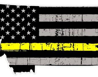 Montana State (E27) Thin Yellow Line Dispatch Vinyl Decal Sticker Car/Truck Laptop/Netbook Window