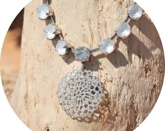 artjany Collier mandala powder blue silver