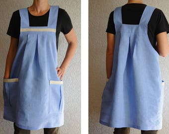 Linen Apron Dress gift|for|her Natural Linen Overalls Tunic Japanese Apron Full apron Craft apron Artist apron gift for women Pinafore apron
