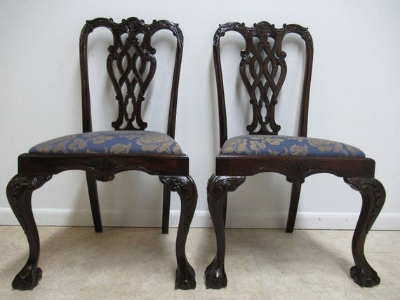 Pair Vintage Mahogany Reproduction Ball Claw Chippendale Dining Side Chairs C