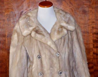 Vintage Cream Tourmaline Full Length Mink Coat, Double Breasted Mink Long Coat, Cream Mink Coat, Vintage Mink Coat, XL Tourmaline Mink