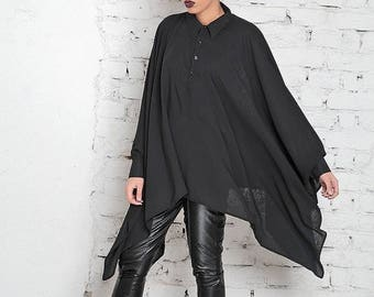 SALE Plus Size Tunic/ Black Tunic Dress/ Kimono Dress/ Japanese Top/ Cape Top/ Boyfriend Shirt/ Black Shirt Dress/ Plus Size Dress/ Summer D