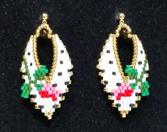Russian Leaf Earrings with Rosebuds