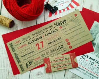 Movie Craft Ticket Wedding Invitation Vintage Retro Cinema Style Wedding Invite Day and Night invitations with Envelope