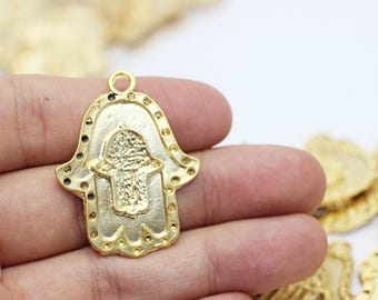 24 K Matt Gold Plated Double Hamsa Hand of Fatima  30x38 mm - Hamsa Charm - Fatima Hand - Hamsa Charms - Gold plated hamsa pendant