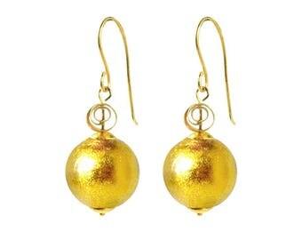 Murano Glass Earrings 'Venetian Golden Jewel' by Mystery of Venice, Murano Glass Earrings, Murano Glass Jewelry, Murano Gold Glass Earrings