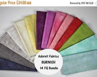 ON SALE BURNISH - Fat Quarter Bundle - by ADORNit Fabrics - 14 Prints - Hard to Find - Blenders - Great Stash Builder