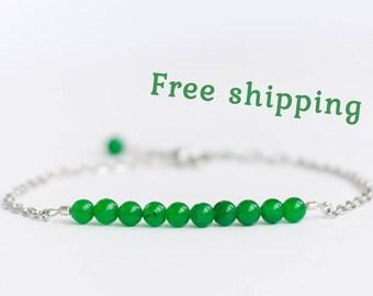 Chrysoprase bracelet, Chrysoprase jewelry, Bright green bracelet, Small green bracelet for girl, Green gemstone bracelet