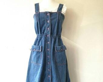 Vintage 1970s jumper dress / overall dress denim blue