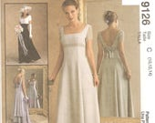 McCall's 9126 Misses' 90's Wedding Dress Bridesmaid's Gown - Romantic - Empire Bustline - Sizes 10, 12, 14 - Uncut & Factory Folded
