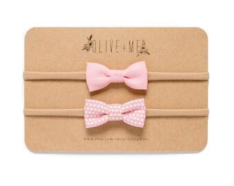Mini Light Pink + Polka-Dot Bow Headbands | Set of 2