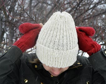 Cream Wool Knit Hat / Organic Wool Knit Hat / Winter Knit Hat / Winter Hat