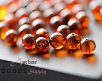 Round amber beads. Baltic amber loose beads. Cherry amber color. 6,5 mm amber, 34 pieces. 0167