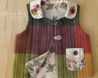 Size 4 Upcycled woollen winter vest with embroidered collar and pocket
