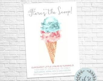SUMMER SALE Ice Cream Party, Modern Watercolor Ice Cream Cone Invitation, 2nd - 3rd - 4th - 5th - 6th - 7th - 8th - 9th Birthday