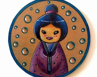 "Round magnet ""kokeshi and water bubbles"" fridge"