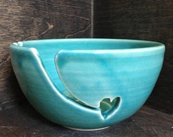 Turquoise Blue Yarn Bowl, Handmade Ceramic Yarn Bowl