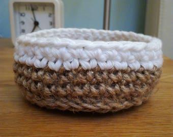 Trinket basket, crochet basket, jewellery basket, jewellery storage, jute basket, small basket, gift for her