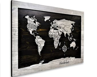 Wooden world carved map country lines custom coordinates carved wood map art world map with country lines office art wall art gumiabroncs Gallery