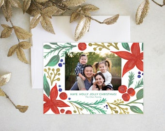 PRINTABLE Holiday Cards | Poinsettias