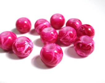 10 pearls white, fuchsia glass 8mm (H-27)