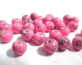 Pink speckled Black 4mm 50 beads