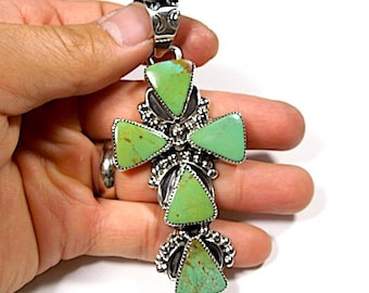 Huge Southwesthern Jewelry Green Turquoise Sterling Silver Cross Pendant Necklace - Signed S. Ray