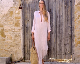 EMMA. PINK long shirtdress. Lightweight cool linen caftan.