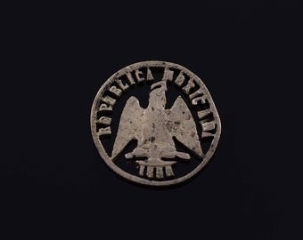 1896 Cut Out Mexico Mexican Old Coin Charm/Pendant Silver