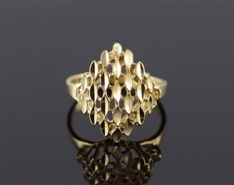 14k Dimpled Filigree Cluster Ring Gold