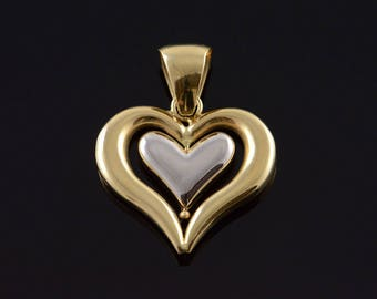 14k 24x21mm Dual Heart Two Tone Puffy Hollow Charm/Pendant Gold