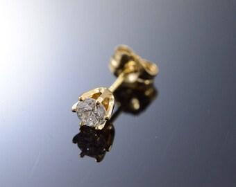 14k 0.25 Ct Diamond Single Stud Earring Gold