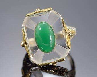 14k Vintage Crystal Jade Filigree Ring Gold