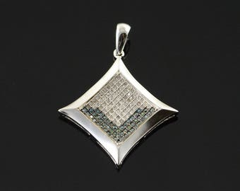 14k 0.25 CTW Blue White Diamond Princess Cut Pendant Gold