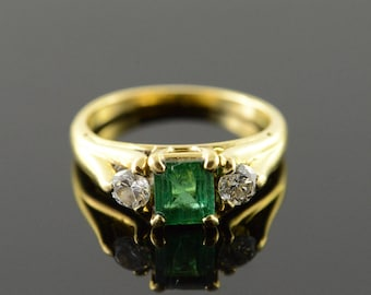 18k 1.10 CTW Emerald Diamond Engagement Ring Gold