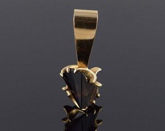 14k 2 CT Brown Topaz Fantasy Cut Pendant Gold